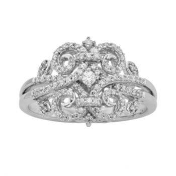 Simply Vera Vera Wang Sterling Silver 1/3-ct. T.W. Diamond Scrollwork Ring