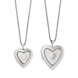 Sterling Silver Mother-of-Pearl Heart Locket Set