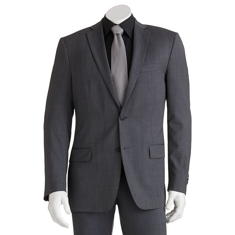 Marc Anthony Modern-Fit Mini-Checked Gray Suit Jacket - Men