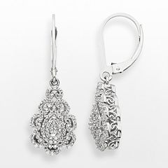 Simply Vera Sterling Silver 1 3 Ct T W Diamond Teardrop Earrings