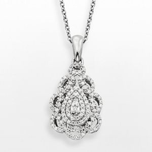 Simply Vera Vera Wang Sterling Silver 1/3-ct. T.W. Diamond Teardrop Pendant