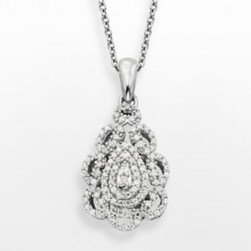Simply Vera Vera Wang Sterling Silver 1/3-ct. T.W. Diamond Teardrop Pendant