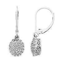 Simply Vera Vera Wang Sterling Silver 3/8 ctT.W. Diamond Oval Drop Earrings