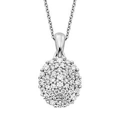 Simply Vera Vera Wang Sterling Silver 3/8 ctT.W. Diamond Oval Pendant