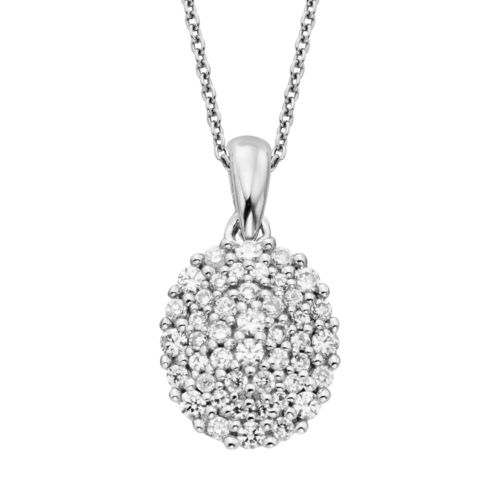 Simply Vera Vera Wang Sterling Silver 3/8-ct. T.W. Diamond Oval Pendant