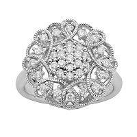 Simply Vera Vera Wang Sterling Silver 1/2 ctT.W. Diamond Flower Ring