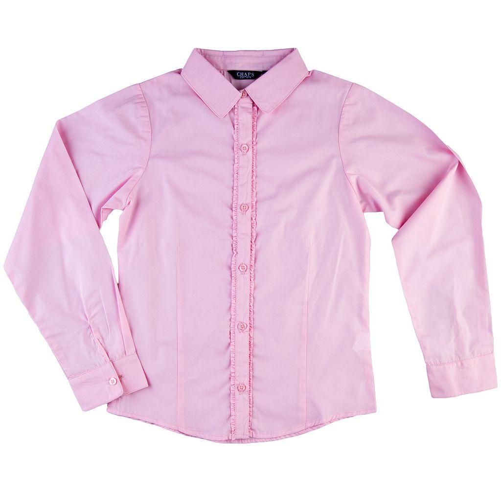 Girls 7-16 Chaps Ruffled Woven School Uniform Shirt