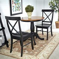 3 pc Round Dining Table & X-Back Chair Set