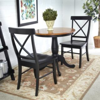 3-pc. Round Dining Table & X-Back Chair Set
