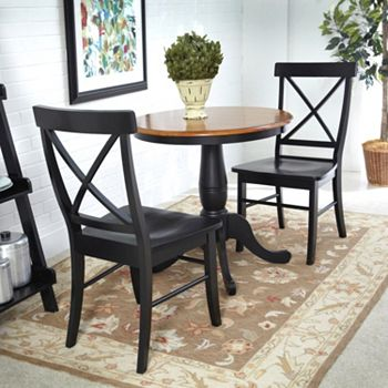 3 Pc Round Dining Table X Back Chair Set