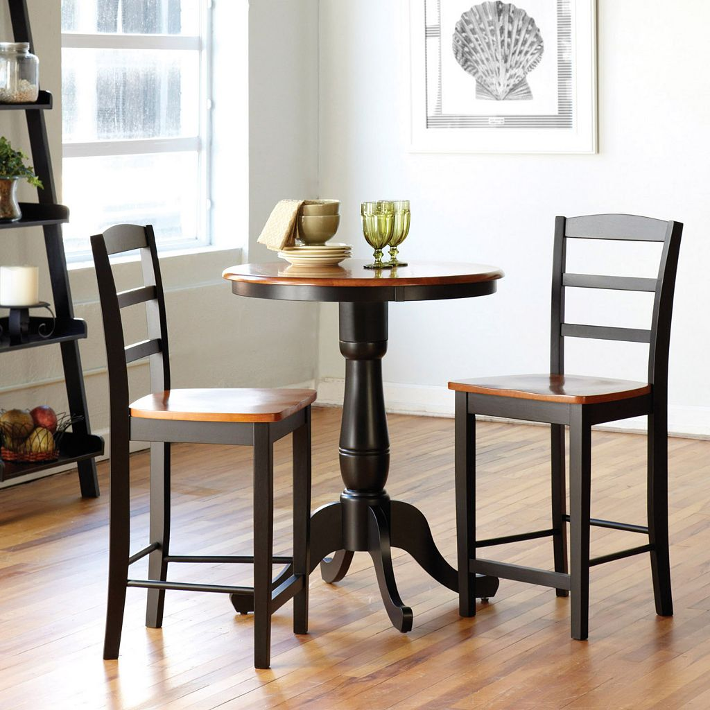 3-pc. Round Dining Table & Counter Stool Set