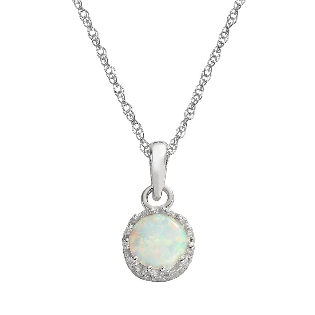 Tiara Sterling Silver Lab-Created Opal Pendant