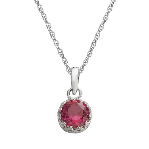 Tiara Sterling Silver Lab-Created Ruby Pendant