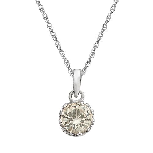 Tiara Sterling Silver Lab-Created White Sapphire Pendant