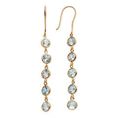 14k Gold Over Silver Blue Topaz Linear Drop Earrings
