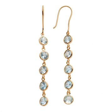 14k Gold Over Silver Blue Topaz Linear Drop Earrings