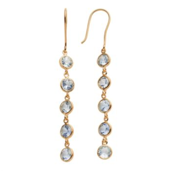 14k Gold Over Silver Lab-Created Aquamarine Linear Drop Earrings