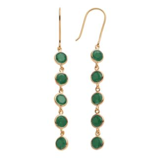 14k Gold Over Silver Lab-Created Emerald Linear Drop Earrings