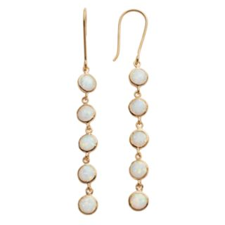 14k Gold Over Silver Lab-Created Opal Linear Drop Earrings