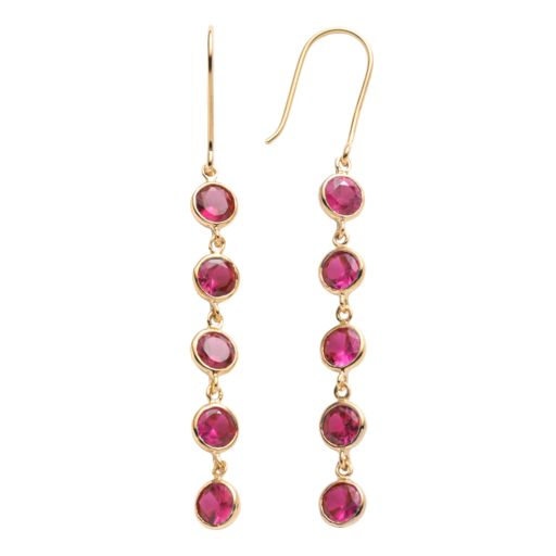 14k Gold Over Silver Lab-Created Ruby Linear Drop Earrings