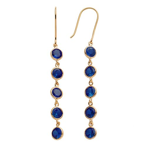 14k Gold Over Silver Lab-Created Sapphire Linear Drop Earrings