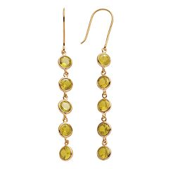 14k Gold Over Silver Citrine Linear Drop Earrings