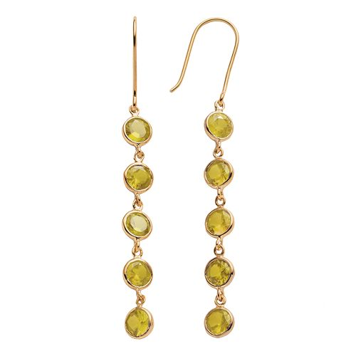 14k Gold Over Silver Citrine Linear Drop Earrings