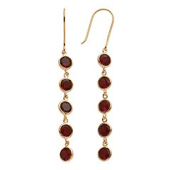 14k Gold Over Silver Garnet Linear Drop Earrings