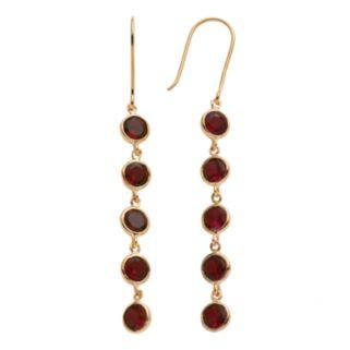 14k Gold Over Silver Garnet Linear Drop Earrings