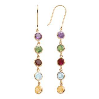 14k Gold Over Silver Gemstone Linear Drop Earrings