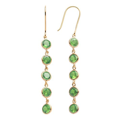 14k Gold Over Silver Peridot Linear Drop Earrings