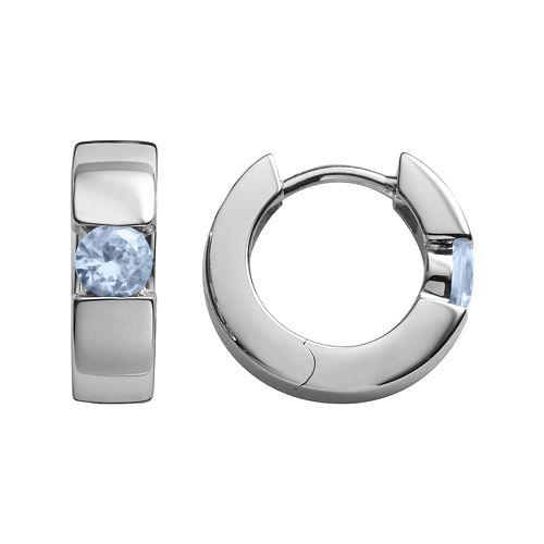 Sterling Silver Lab-Created Aquamarine Hoop Earrings