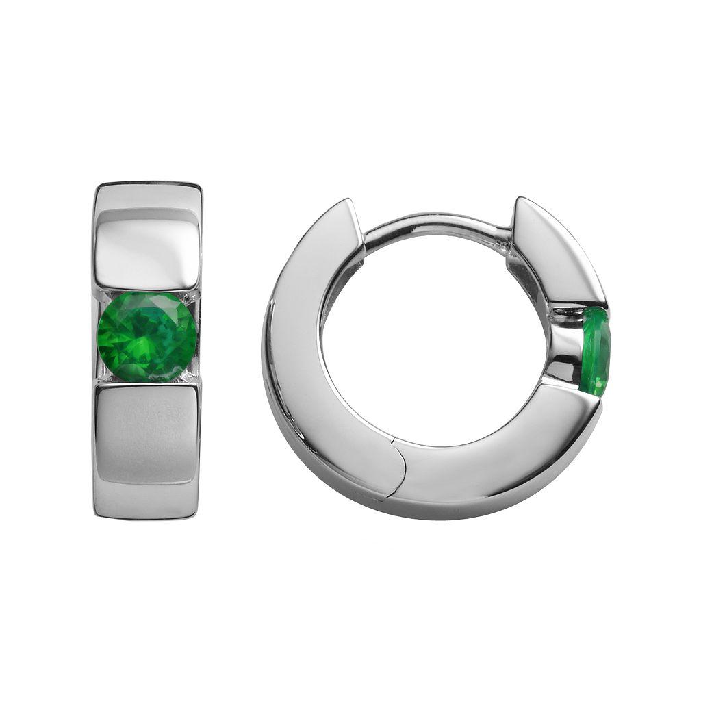 Sterling Silver Lab-Created Emerald Hoop Earrings