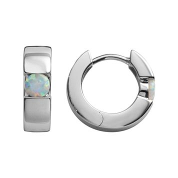 Sterling Silver Lab-Created Opal Hoop Earrings