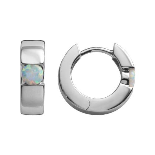 Sterling Silver Lab-Created Opal Hoop Earrings