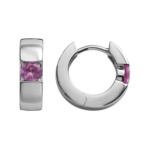 Sterling Silver Lab-Created Pink Sapphire Hoop Earrings