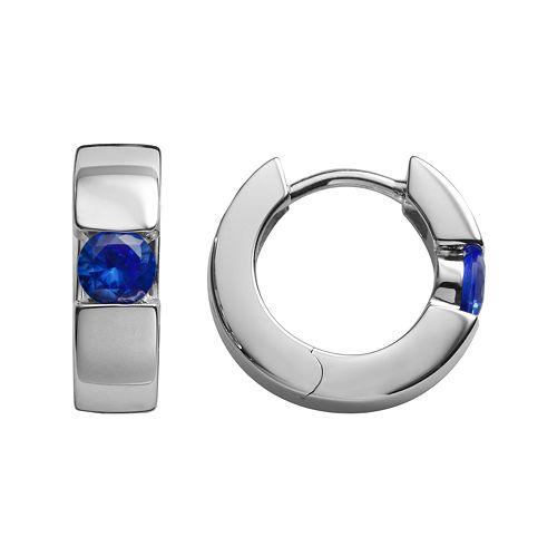 Sterling Silver Lab-Created Sapphire Hoop Earrings