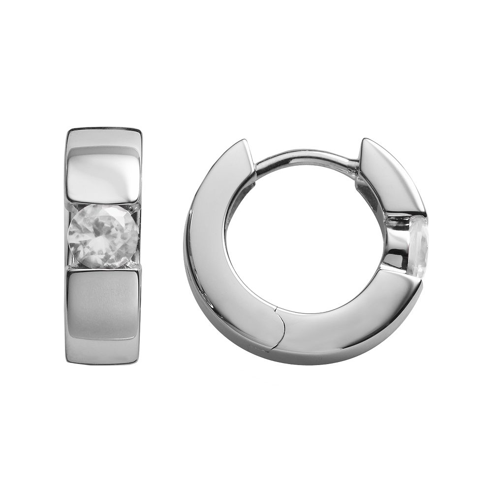 Sterling Silver Lab-Created White Sapphire Hoop Earrings