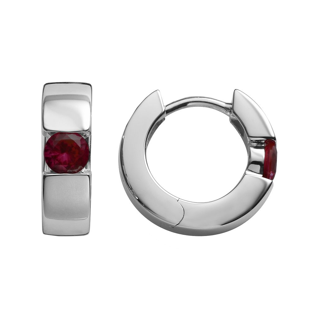 Sterling Silver Garnet Hoop Earrings