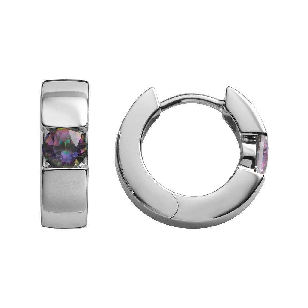 Sterling Silver Rainbow Quartz Hoop Earrings