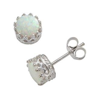 Sterling Silver Lab-Created Opal Stud Earrings