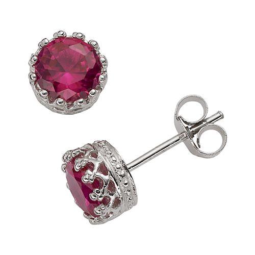 Sterling Silver Lab-Created Ruby Stud Earrings