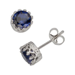 Sterling Silver Lab-Created Sapphire Stud Earrings