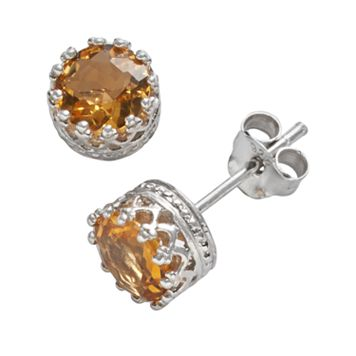 Sterling Silver Citrine Crown Stud Earrings