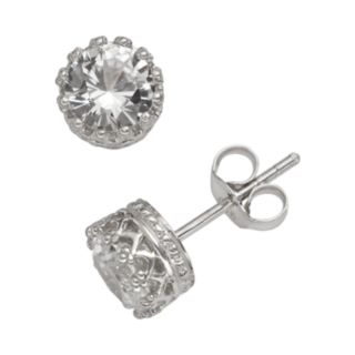 Sterling Silver Lab-Created White Sapphire Stud Earrings