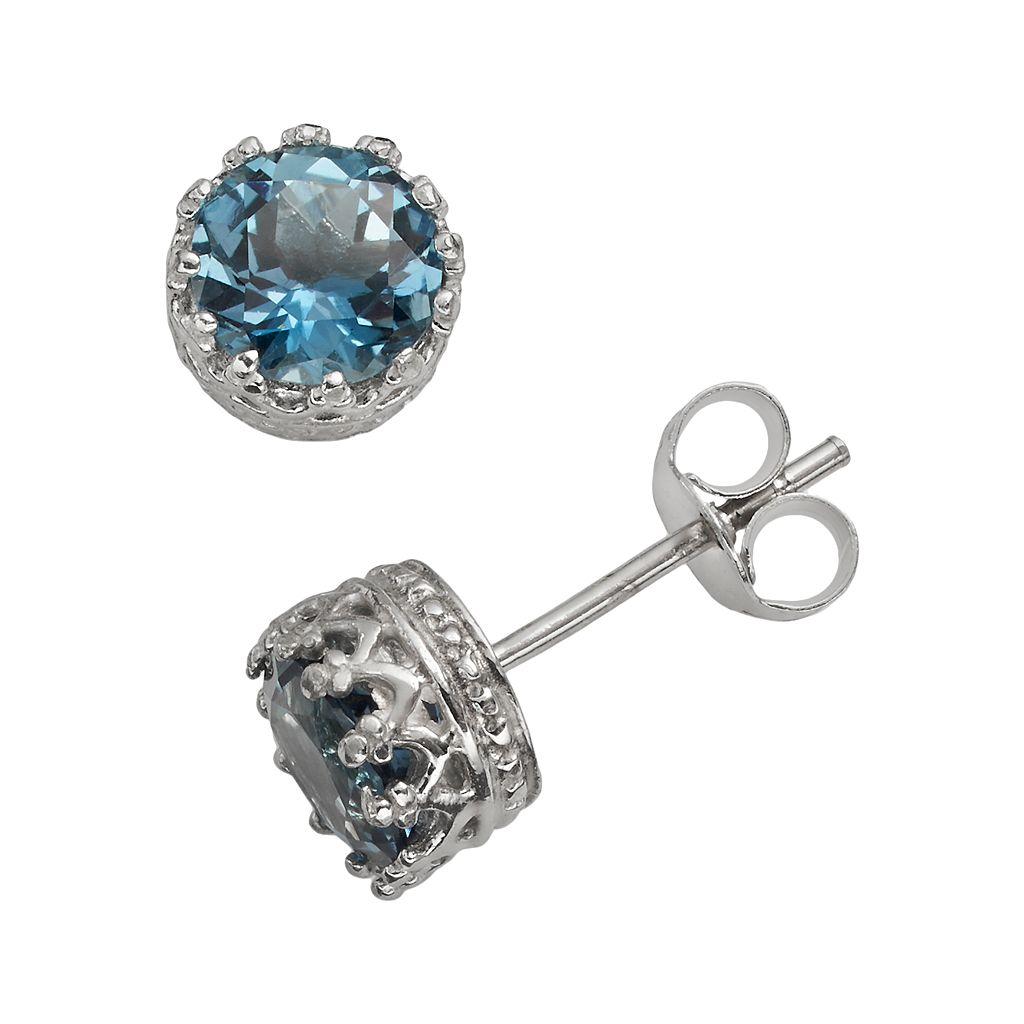 Sterling Silver London Blue Topaz Stud Earrings