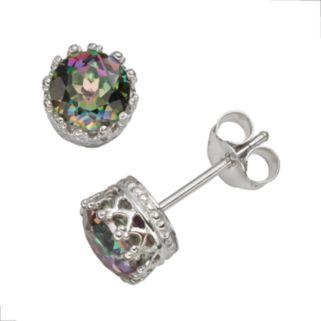 Sterling Silver Rainbow Quartz Stud Earrings