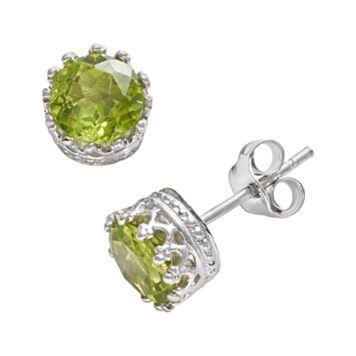 Sterling Silver Peridot Crown Stud Earrings