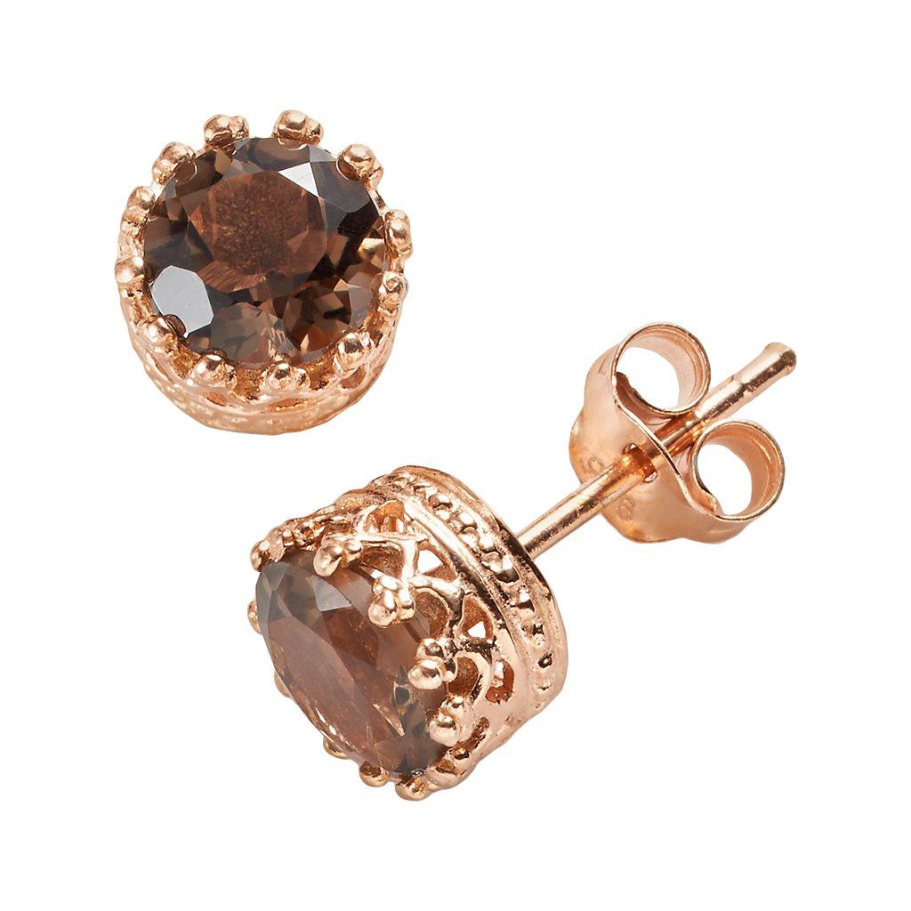 14k Rose Gold Over Silver Smoky Quartz Crown Stud Earrings