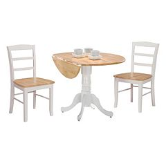 3 pc Drop-Leaf Dining Table & Chair Set